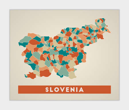 Slovenia poster. Map of the country with colorful regions. Shape of Slovenia with country name. Vibrant vector illustration.