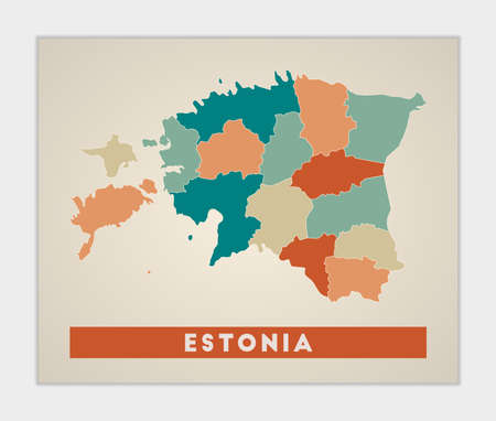 Estonia poster. Map of the country with colorful regions. Shape of Estonia with country name. Cool vector illustration.
