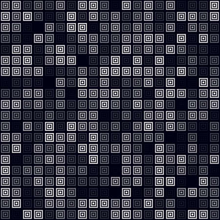 Futuristic tech background. Filled pattern of multiple squares. White colored seamless background. Vibrant vector illustration.