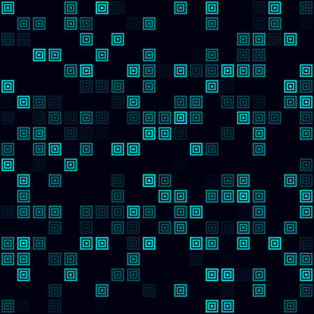 Futuristic tech background. Sparse pattern of multiple squares. Cyan colored seamless background. Awesome vector illustration.