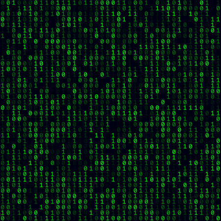Abstract digital background. Green filled binary background. Medium sized seamless pattern. Neat vector illustration. 向量圖像