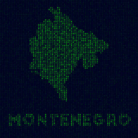 Country symbol in hacker style. Binary code map of Montenegro with country name. Amazing vector illustration.