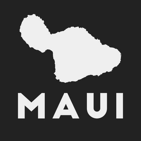 Maui icon. Island map on dark background. Stylish Maui map with island name. Vector illustration.
