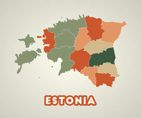Estonia poster in retro style. Map of the country with regions in autumn color palette. Shape of Estonia with country name. Cool vector illustration. Illustration