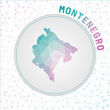 Vector polygonal Montenegro map. Map of the country with network mesh background. Montenegro illustration in technology, internet, network, telecommunication concept style.