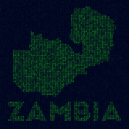 Country symbol in hacker style. Binary code map of Zambia with country name. Astonishing vector illustration.