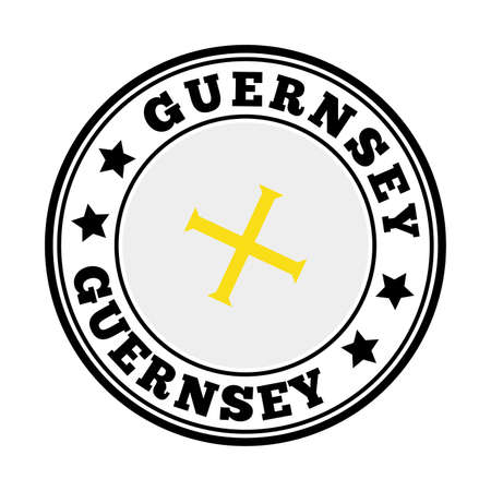 Guernsey sign. Round country   with flag of Guernsey. Vector illustration.
