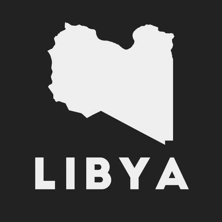 Libya icon. Country map on dark background. Stylish Libya map with country name. Vector illustration.