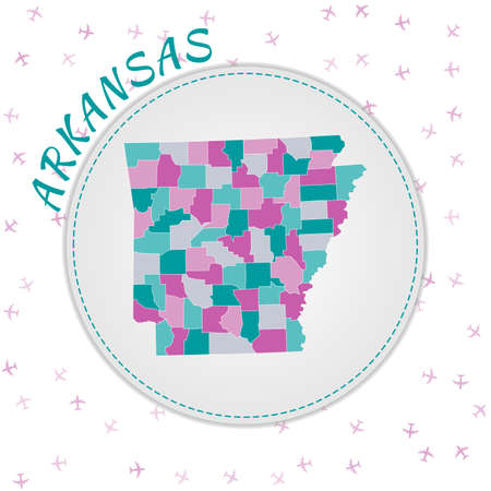 Arkansas map design. Map of the us state with regions in emerald-amethyst color palette. Rounded travel to Arkansas poster with us state name and airplanes background. Authentic vector illustration.