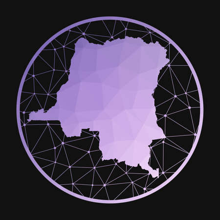 DR Congo icon. Vector polygonal map of the country. DR Congo icon in geometric style. The country map with purple low poly gradient on dark background. Vektoros illusztráció