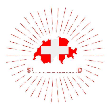 Switzerland sunburst badge. The country sign with map of Switzerland with Swiss flag. Illustration