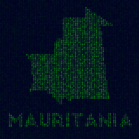 Digital Mauritania . Country symbol in hacker style. Binary code map of Mauritania with country name. Astonishing vector illustration.