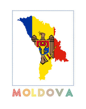Map of Moldova with country name and flag. Classy vector illustration.