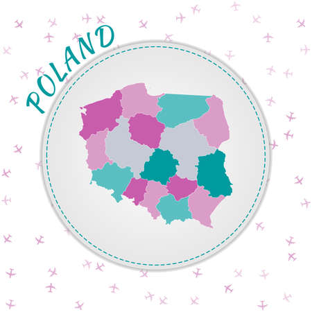 Poland map design. Map of the country with regions in emerald-amethyst color palette. Rounded travel to Poland poster with country name and airplanes background. Vibrant vector illustration. Vektoros illusztráció