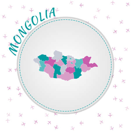 Mongolia map design. Map of the country with regions in emerald-amethyst color palette. Rounded travel to Mongolia poster with country name and airplanes background. Appealing vector illustration.