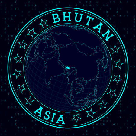 Bhutan round sign. Futuristic satelite view of the world centered to Bhutan. Country badge with map, round text and binary background. Artistic vector illustration.