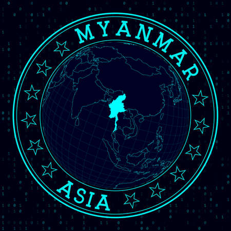 Myanmar round sign. Futuristic satelite view of the world centered to Myanmar. Country badge with map, round text and binary background. Neat vector illustration.