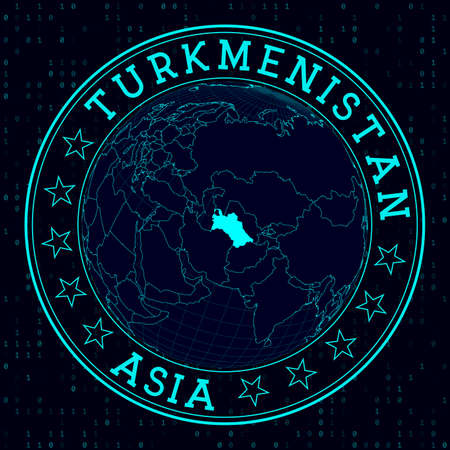 Turkmenistan round sign. Futuristic satelite view of the world centered to Turkmenistan. Country badge with map, round text and binary background. Artistic vector illustration.