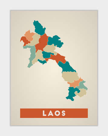 Laos poster. Map of the country with colorful regions. Shape of Laos with country name. Authentic vector illustration.