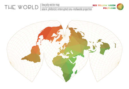 Vector map of the world. Alan K. Philbricks interrupted sinu-Mollweide projection of the world. Red Yellow Green colored polygons. Modern vector illustration.