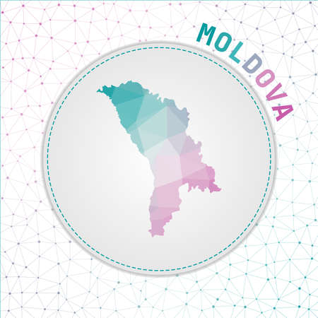 Vector polygonal Moldova map. Map of the country with network mesh background. Moldova illustration in technology, internet, network, telecommunication concept style . Powerful vector illustration. Vektorové ilustrace
