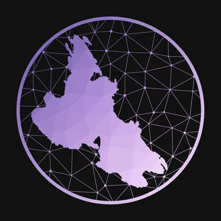 Krk icon. Vector polygonal map of the island. Krk icon in geometric style. The island map with purple low poly gradient on dark background. Technology, internet, network, telecommunication concept. Vektoros illusztráció