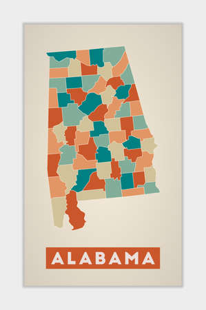 Alabama poster. Map of the us state with colorful regions. Shape of Alabama with us state name. Authentic vector illustration. Illustration