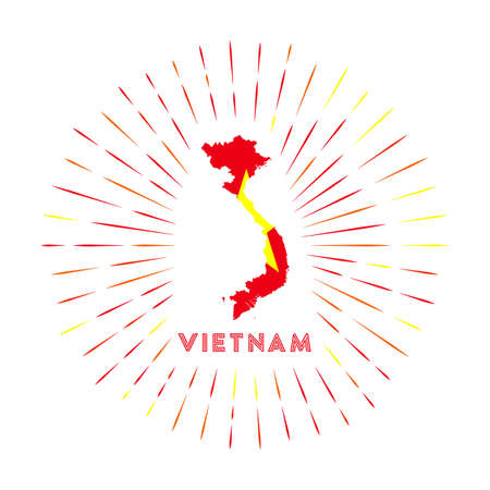 Vietnam sunburst badge. The country sign with map of Vietnam with Vietnamese flag. Colorful rays around the logo. Vector illustration.