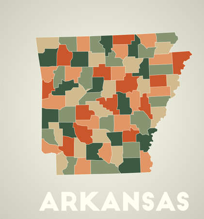 Arkansas poster in retro style. Map of the us state with regions in autumn color palette. Shape of Arkansas with us state name. Neat vector illustration.