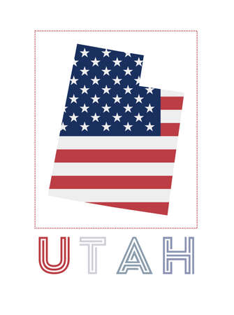 Utah Logo. Map of Utah with us state name and flag. Awesome vector illustration.