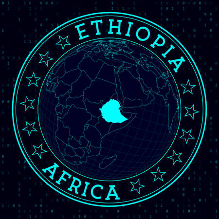 Ethiopia round sign. Futuristic satelite view of the world centered to Ethiopia. Country badge with map, round text and binary background. Awesome vector illustration.