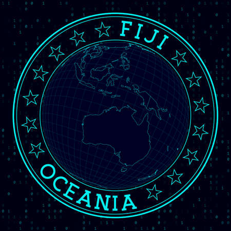 Fiji round sign. Futuristic satelite view of the world centered to Fiji. Country badge with map, round text and binary background. Captivating vector illustration.