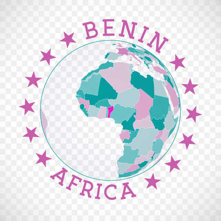 Benin round logo. Badge of country with map of Benin in world context. Country sticker stamp with globe map and round text. Creative vector illustration.