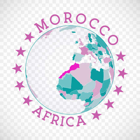 Morocco round logo. Badge of country with map of Morocco in world context. Country sticker stamp with globe map and round text. Artistic vector illustration. Vectores
