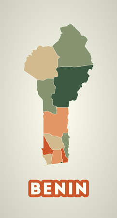 Benin poster in retro style. Map of the country with regions in autumn color palette. Shape of Benin with country name. Superb vector illustration.