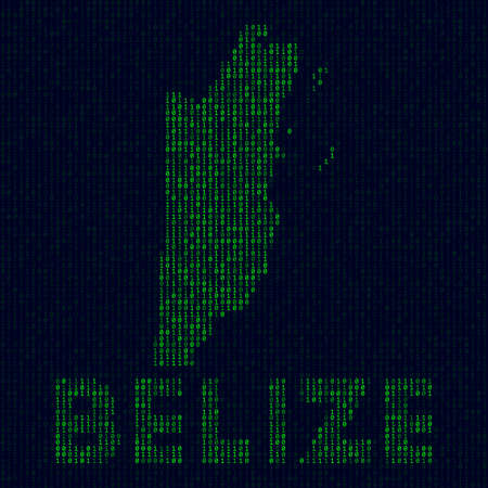 Digital Belize logo. Country symbol in hacker style. Binary code map of Belize with country name. Attractive vector illustration.