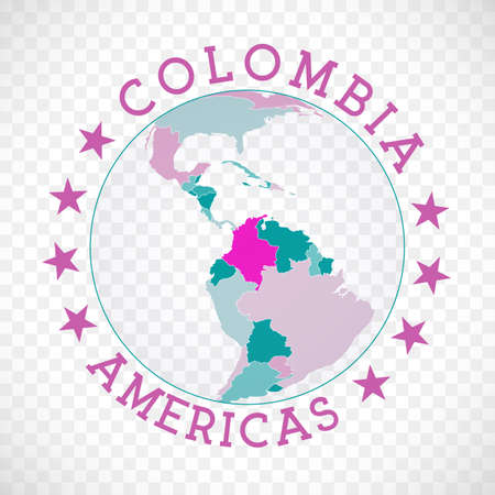 Colombia round logo. Badge of country with map of Colombia in world context. Country sticker stamp with globe map and round text. Classy vector illustration. Иллюстрация