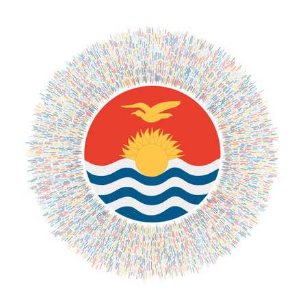 Flag of Kiribati with colorful rays. Radiant country sign. Shiny sunburst with Kiribati flag. Beautiful vector illustration.