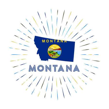 Montana sunburst badge. The us state sign with map of Montana with state flag. Colorful rays around the logo. Vector illustration.