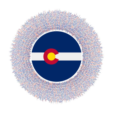 Flag of Colorado with colorful rays. Radiant us state sign. Shiny sunburst with Colorado flag. Appealing vector illustration.