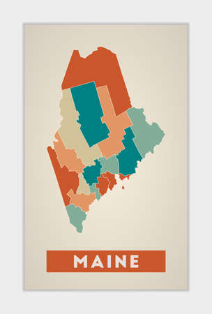Maine poster. Map of the us state with colorful regions. Shape of Maine with us state name. Artistic vector illustration.