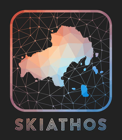 Skiathos map design. Vector low poly map of the island. Skiathos icon in geometric style. The island shape with polygnal gradient and mesh on dark background.