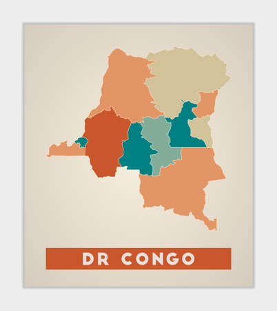 DR Congo poster. Map of the country with colorful regions. Shape of DR Congo with country name. Radiant vector illustration.