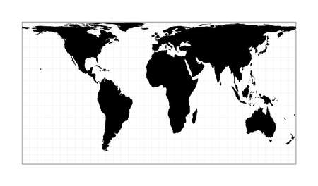 Black world map on white background. Cylindrical equal-area projection. Plan world geographical map with graticlue lines. Vector illustration.