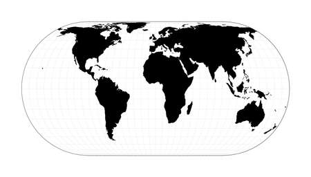 Abstract map of world. Herbert Hufnage's pseudocylindrical equal-area projection. Plan world geographical map with graticlue lines. Vector illustration.