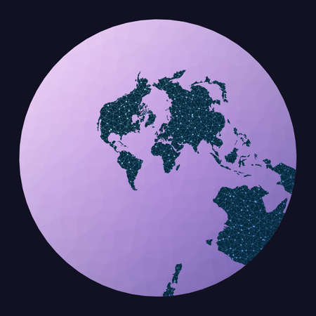 World map graph. Stereographic. World network map. Wired globe in Stereographic projection on geometric low poly background. Artistic vector illustration.