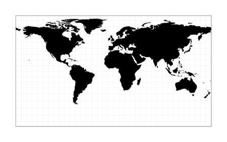 World contour. Patterson cylindrical projection. Plan world geographical map with graticlue lines. Vector illustration.
