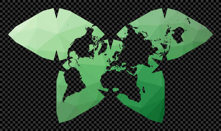 Low poly world map. Polyhedral Waterman projection. Polygonal map of the world on transparent background. Stencil shape geometric globe. Radiant vector illustration.