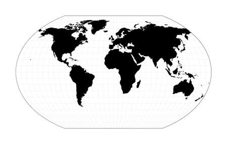Vector World Map. Kavrayskiy VII pseudocylindrical projection. Plan world geographical map with graticlue lines. Vector illustration.
