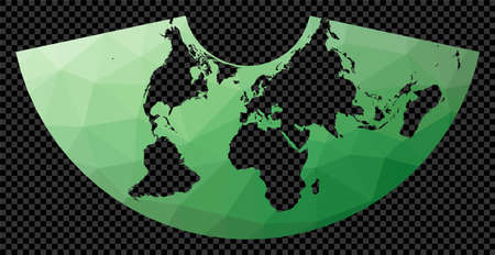 Low poly map of the world. Conic Equal Area projection. Polygonal map of the world on transparent background. Stencil shape geometric globe. Powerful vector illustration. Ilustração